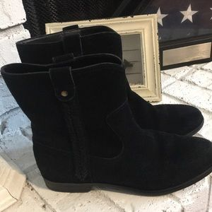 Bass Suede Cindy Ankle Boots Booties Size 7 Black